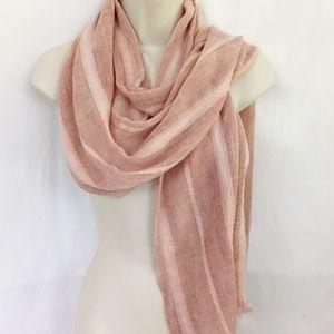 TRUE CRAFT Blush Pink Scarf Textured Stripe